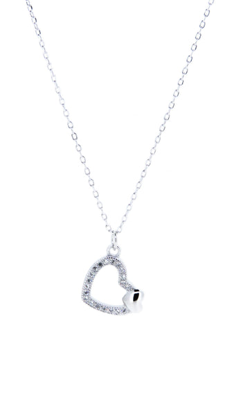 Sterling Silver Necklace - Mum - Heart - Silver