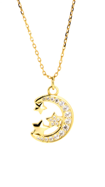 Sterling Silver Necklace - To The Moon And Back - Moon & Stars - Gold