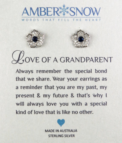 Sterling Silver Earrings - Love of a Grandparent - Flower - Silver