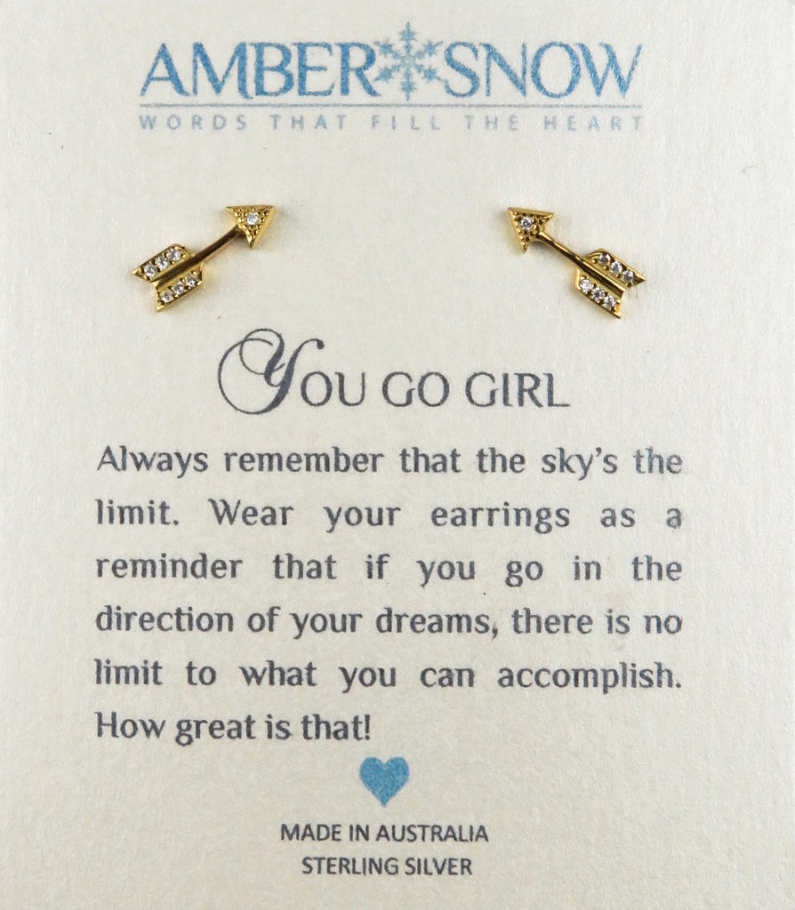 Sterling Silver Earrings - You Go Girl - Arrow - Gold