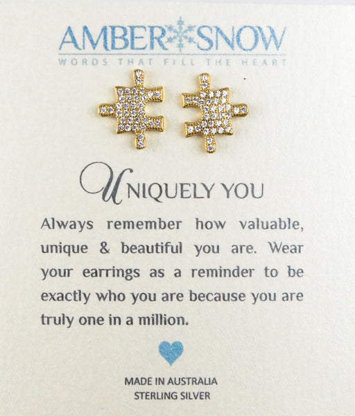 Sterling Silver Earrings - Uniquely You - Puzzle Piece - Gold