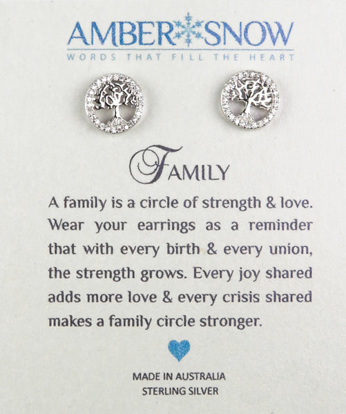 Sterling Silver Earrings - Family - Tree of Life - Silver