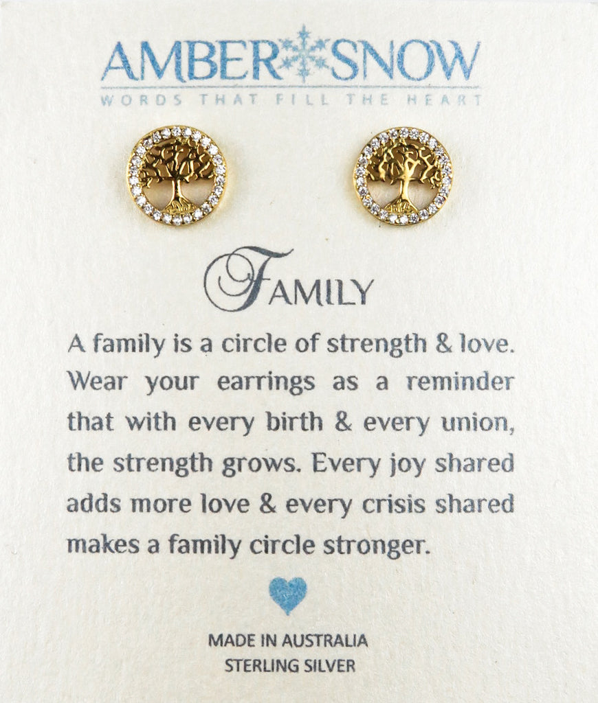 Sterling Silver Earrings - Family - Tree of Life - Gold