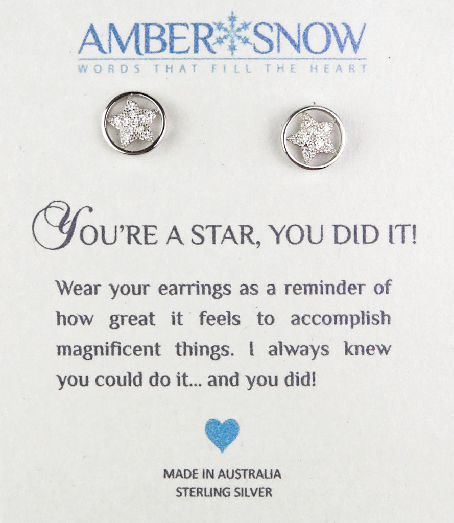 Sterling Silver Earrings - You're A Star, You Did It - Star - Silver