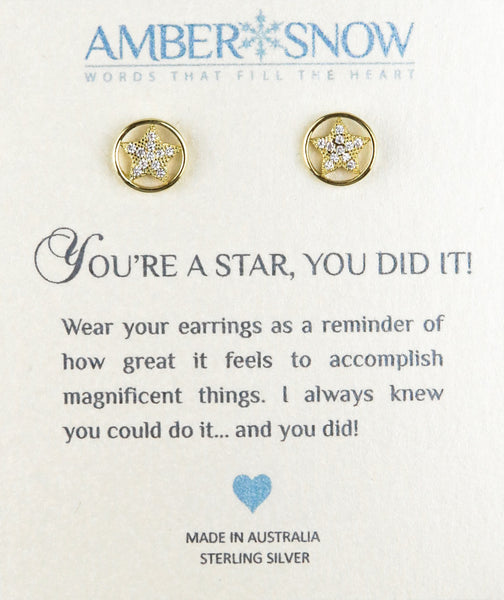 Sterling Silver Earrings - You're A Star, You Did It - Star - Gold