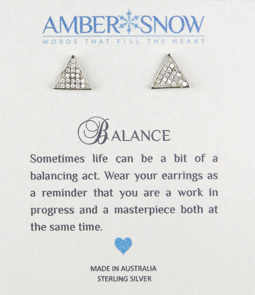 Sterling Silver Earrings - Balance - Triangle earrings - Silver