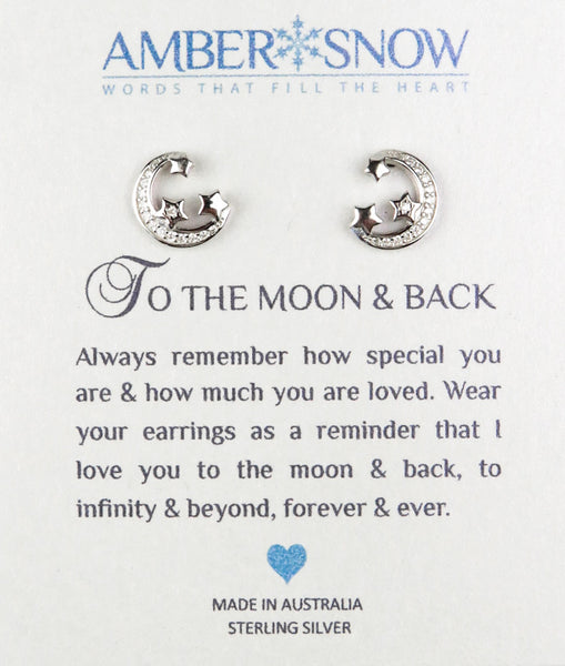 Sterling Silver Earrings - To The Moon & Back - Moon & Stars - Silver