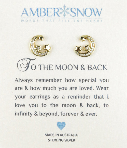 Sterling Silver Earrings - To The Moon & Back - Moon & Stars - Gold