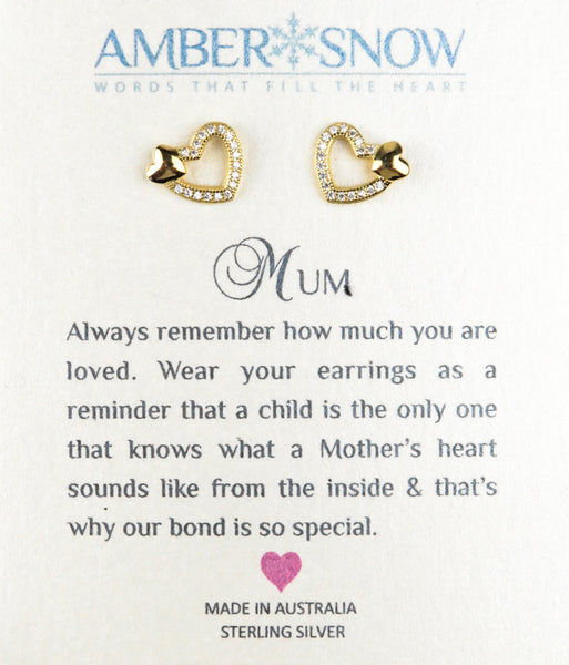 Sterling Silver Earrings - Mum - Open Heart - Gold