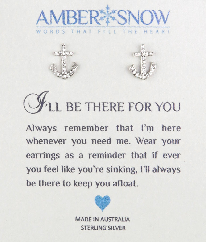 Sterling Silver Earrings - I'll be there for you- Anchor - Silver