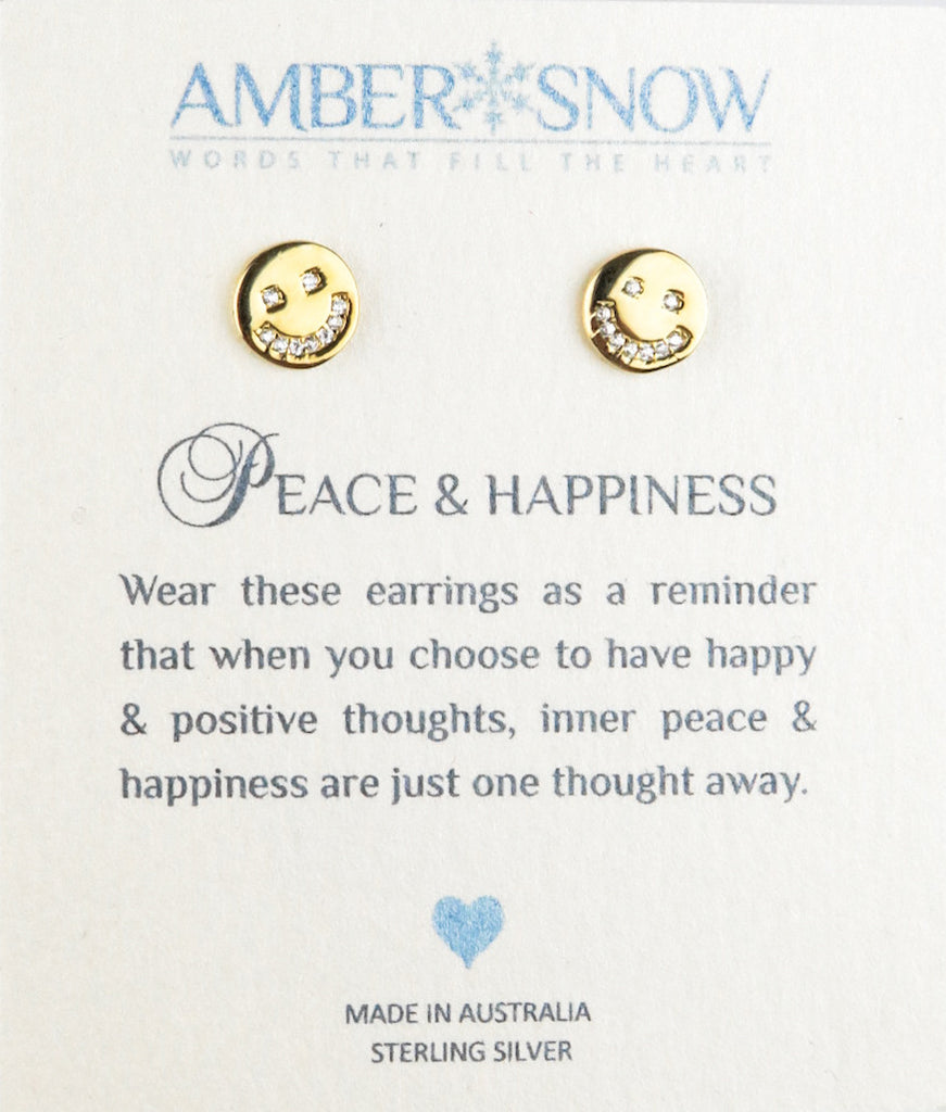 Sterling Silver Earrings - Peace & Happiness  - Smiley Face earrings - Gold