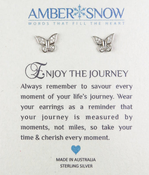 Sterling Silver Earrings - Enjoy the Journey - Butterfly - Silver