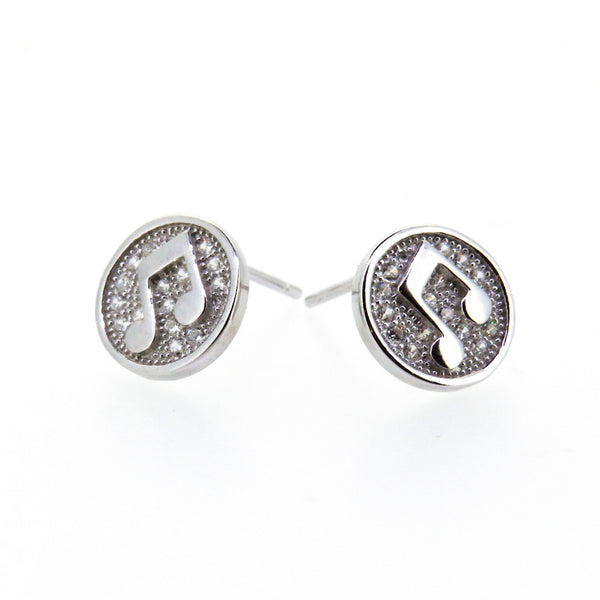Sterling Silver Earrings - My Beautiful Daughter - Music Note - Silver