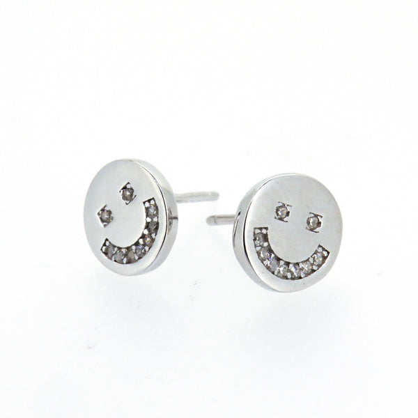 Sterling Silver Earrings - Peace & Happiness  - Smiley Face - Silver