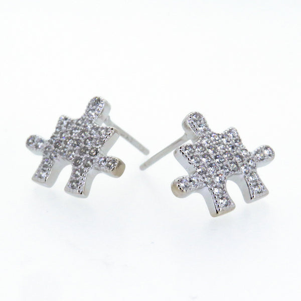 Sterling Silver Earrings - Uniquely You - Puzzle Piece - Silver
