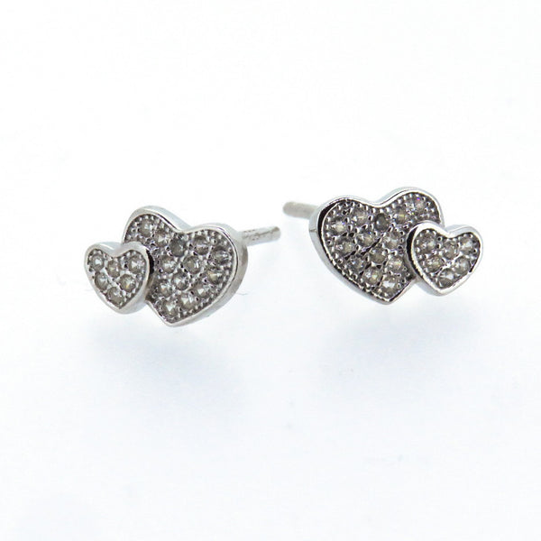 Sterling Silver Earrings - Love of My Life - Double Heart - Silver