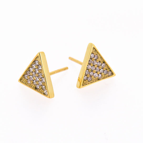 Sterling Silver Earrings -  Balance - Triangle earrings - Gold