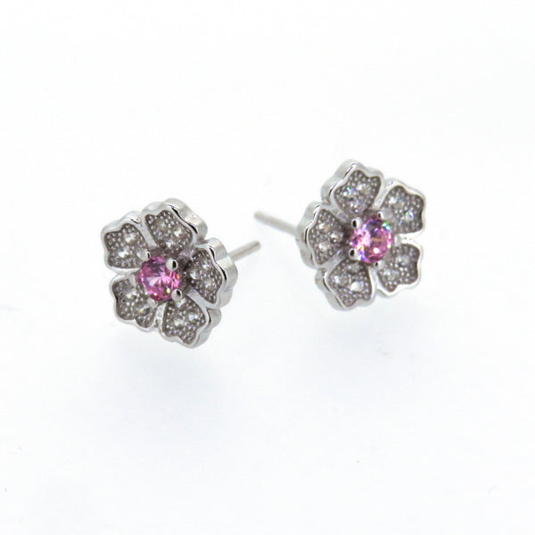 Sterling Silver Earrings - My Beautiful Daughter - Flower earrings with pink crystal - Silver