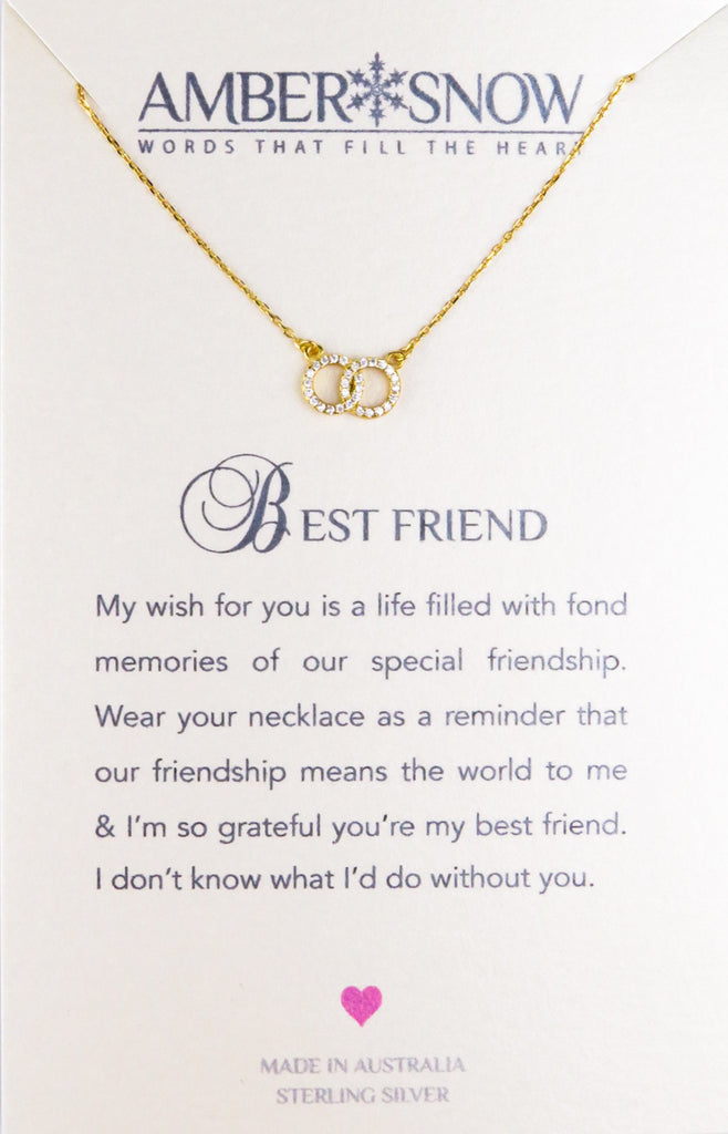 Sterling Silver Necklace - Best Friend - Double circles - Gold