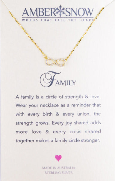 Sterling Silver Necklace - Family - Infinity - Gold