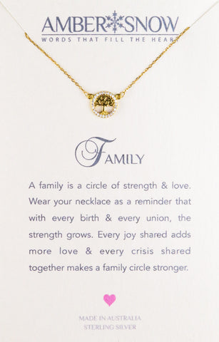 Sterling Silver Necklace - Family - Tree of Life - Gold