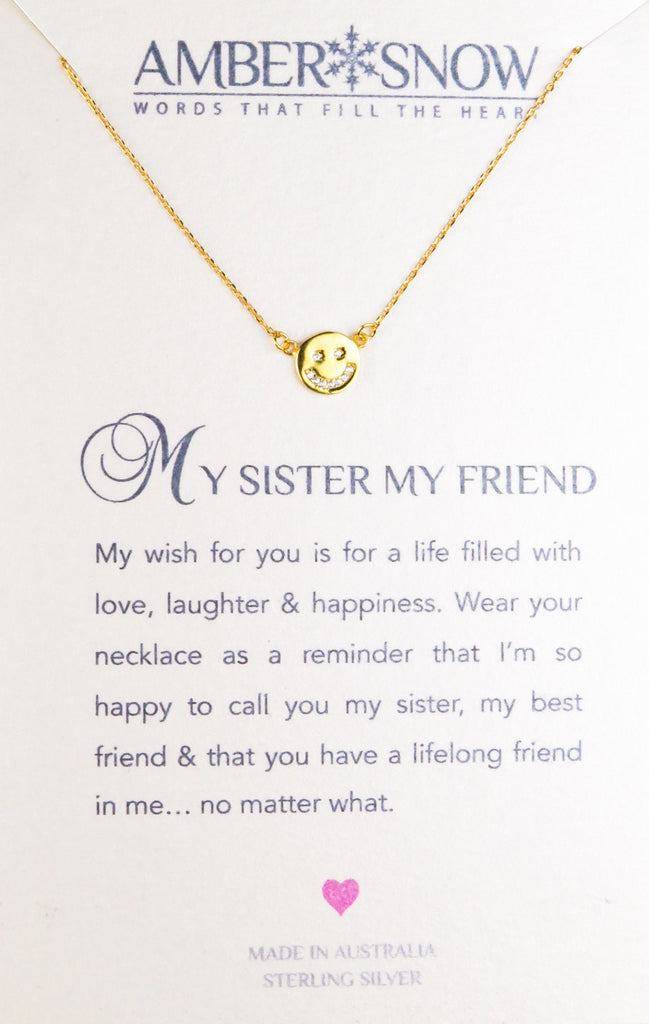Sterling Silver Necklace - My Sister My Friend - Smiley Face - Gold