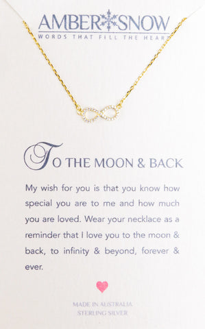Sterling Silver Necklace - To The Moon And Back - Infinity - Gold