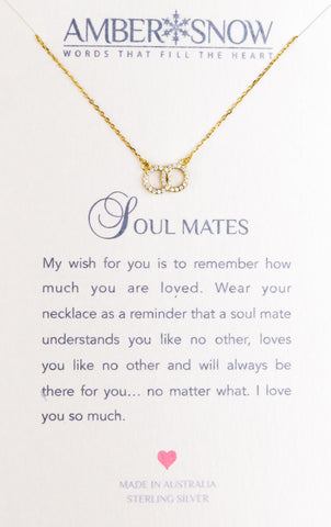 Sterling Silver Necklace - Soul Mates - Double Circle - Gold