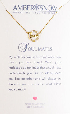 Sterling Silver Necklace - Soul Mate - Love - Gold