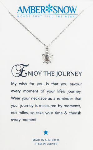 Sterling Silver Necklace - Enjoy The Journey - Turtle - Silver