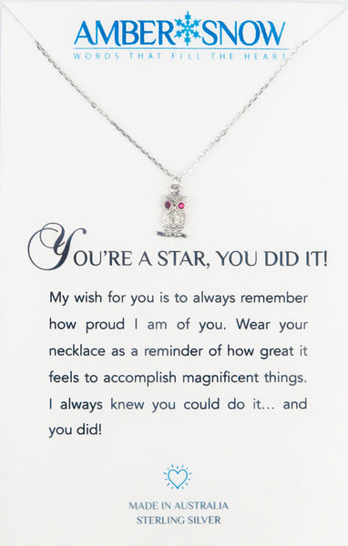 Sterling Silver Necklace - You're a Star, You Did It! - Owl - Silver