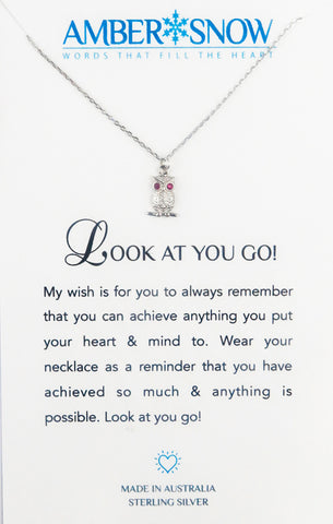Sterling Silver Necklace - Look At You Go - Owl - Silver