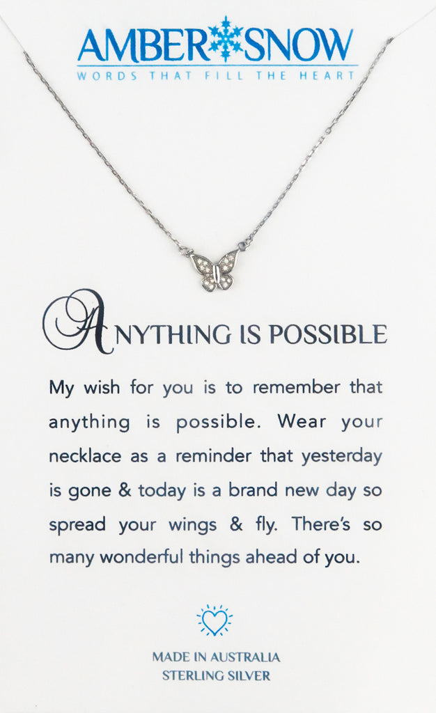Sterling Silver Necklace - Anything Is Possible - Butterfly - Silver