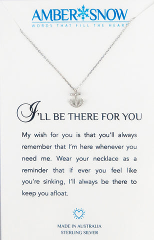 Sterling Silver Necklace - I'll Be There For You - Anchor - Silver