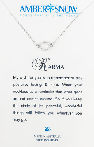 Sterling Silver Necklace - Karma - Circle - Silver