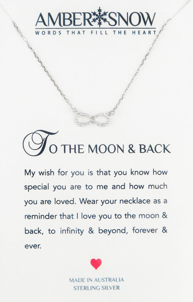Sterling Silver Necklace - To The Moon And Back - Infinity - Silver