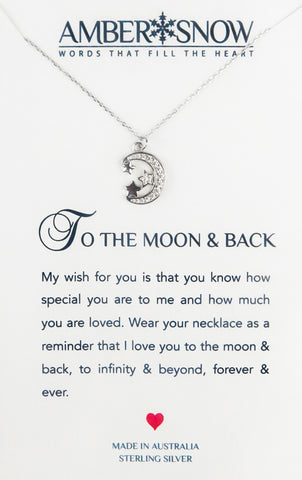 Sterling Silver Necklace - To The Moon And Back - Moon & Stars - Silver