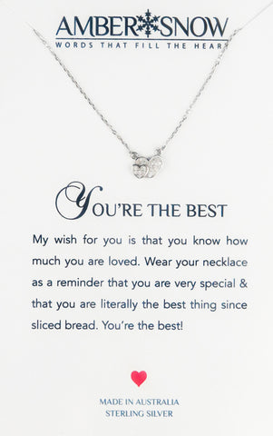 Sterling Silver Necklace - You're The Best - Double Heart - Silver