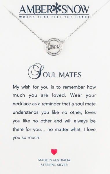 Sterling Silver Necklace - Soul Mates - Love - Silver