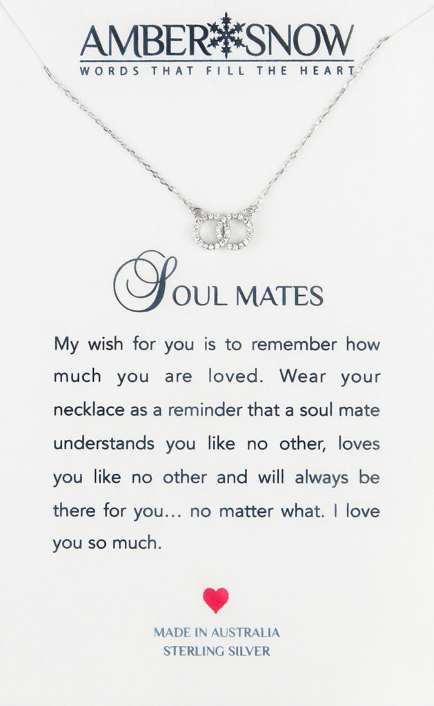 Sterling Silver Necklace - Soul Mates - Double Circle - Silver
