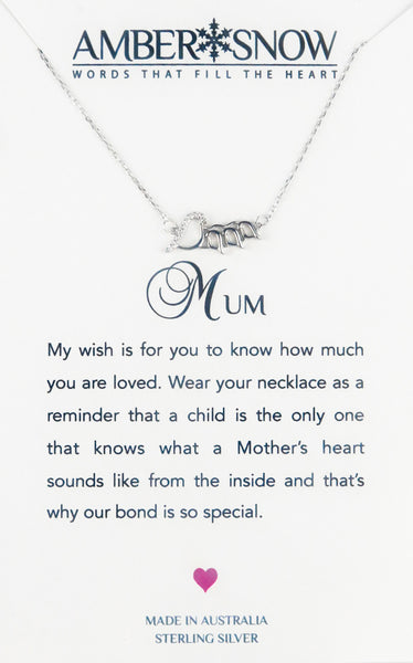 Sterling Silver Necklace - Mum - Birds - Silver