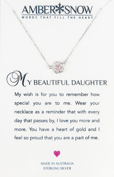 Sterling Silver Necklace - My Beautiful Daughter - Flower - Silver