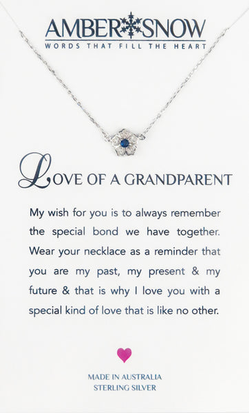 Sterling Silver Necklace - Love Of A Grandparent - Flower - Silver