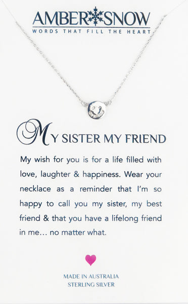 "Sterling Silver Necklace - ""My Sister My Friend"""