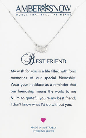 Sterling Silver Necklace - Best Friend - Double circles - Silver