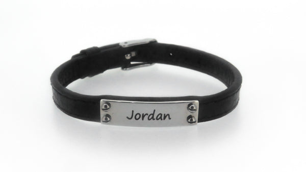 Unisex Leather ID bracelet - FREE Engraving