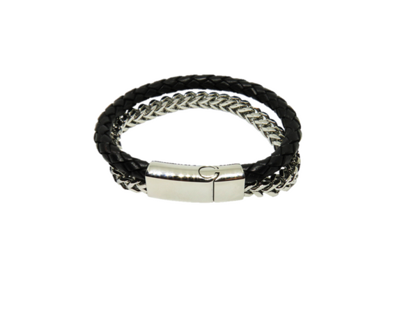 Mens Stainless Steel Bracelet - Chain and platted leather - FREE engraving!