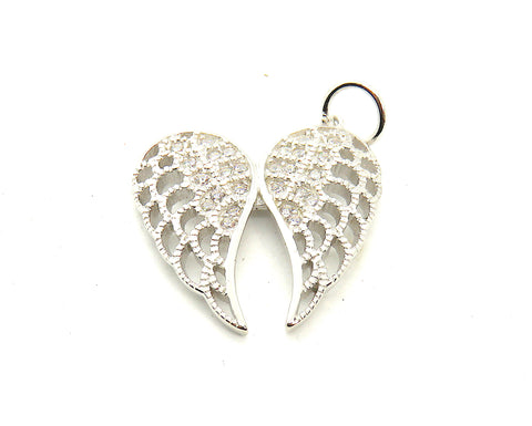 Large Angel Wings Charm in Sterling Silver