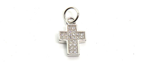 Small Cross Charm in Sterling Silver