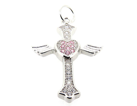 Cross Charm with pink heart in Sterling Silver